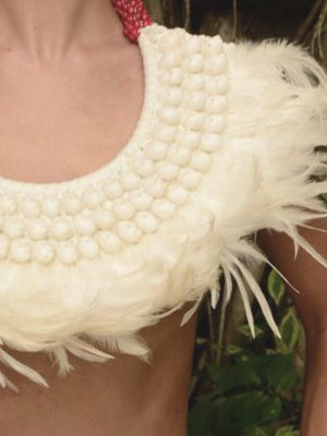 Tribal Warrior Feather Collar - White